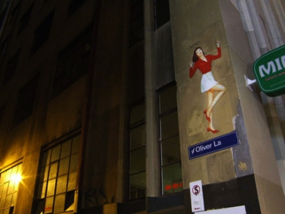 11:47 pm, 'Dancing Girl', Oliver Lane, off Flinders Lane.