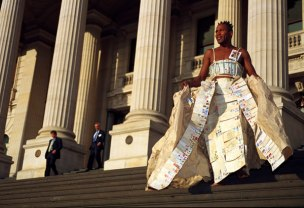Publicity shot for 'It's Only a Piece of Paper', outside Parliament House, Melbourne, Australia, 2003.