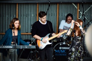 The Band Ysla performing on the Homebrew stage at Falls Fest, Marion Bay, Tas