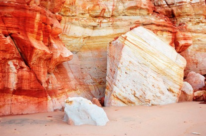 Pindan-stained cliffs, Walmadan (James Price Point), The Kimberley, Western Australia.