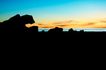 Rock formations, sea and sky, Walmadan (James Price Point), The Kimberley, Western Australia.