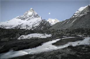 The Ganges river and Mt Shivling under a near-full moon at around 5 am; Taken from Tapovan, the alpine meadow that is the source of the Ganges. Indian Himalaya.