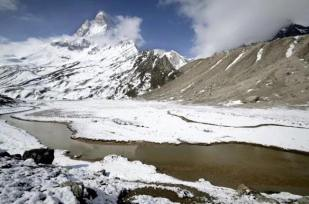 The Ganges river and Mt Shivling, taken from Tapovan, the alpine meadow that is the source of the Ganges. Indian Himalaya.
