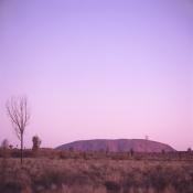 Uluru at sunset.