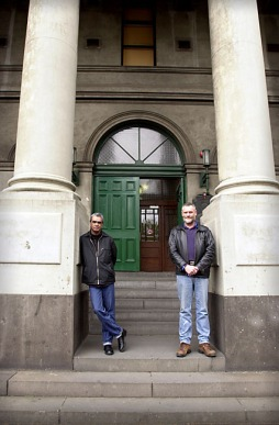 Aboriginal activist, Gary Foley and ?, at Trades Hall, Melbourne