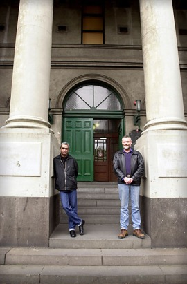 Aboriginal activist, Gary Foley and ?, at Trades Hall, Melbourne