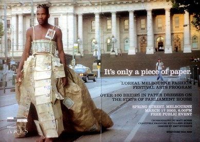 'It's Only a Piece of Paper' - Publcity shot for 'L'oreal Mebourne Fashion Festival Arts Program'