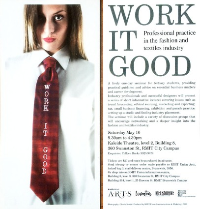 Publicity shot for 'Work It Good' - a fashion and textile industry seminar